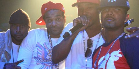 (L-R) Freekey Zekey, Jim Jones, Cam'ron and Juelz Santana of Dipset perform during The Dipset Reunion at Hammerstein Ballroom on November 26, 2010 in New York City. (Photo by Johnny Nunez/WireImage)